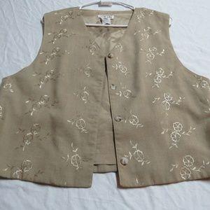 Sz M Tan Talbots Women Linen Floral #26C Suit Vest